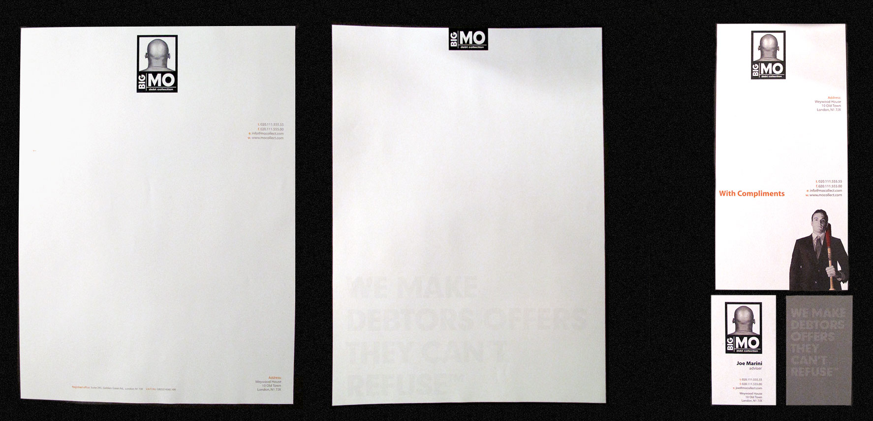 Big Mo Stationery; letterhead, compslip and business card